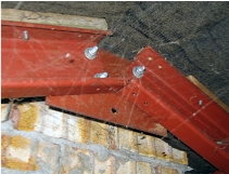 Steel frame roof junction