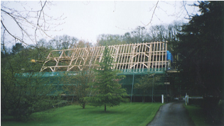 Timber roof frame during construction