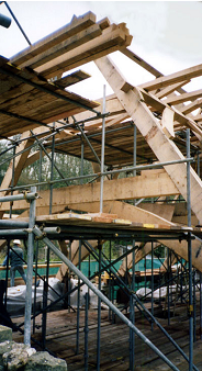 Timber (Oak) Roof Trusses during erection